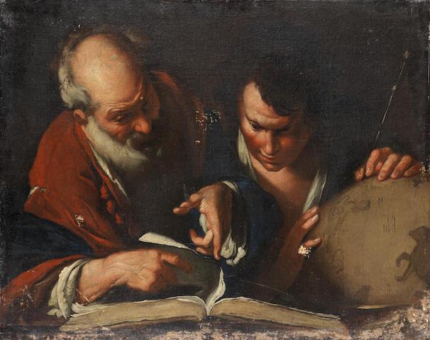 After Bernardo Strozzi, 18th Century Eratostene and Alexander? unframed