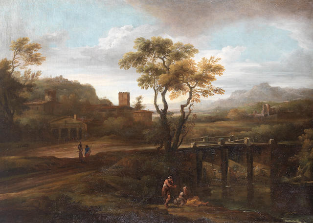 Circle of Paolo Anesi (Rome circa 1700-circa 1761) Figures by a bridge in an Italianate landscape unframed