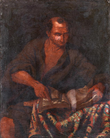 North Italian School, 17th Century Portrait of an elderly man reading unframed