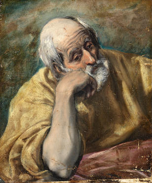 Domenikos Theotokopoulos, called El Greco (Candia 1541-1614 Toledo) Saint Peter unframed