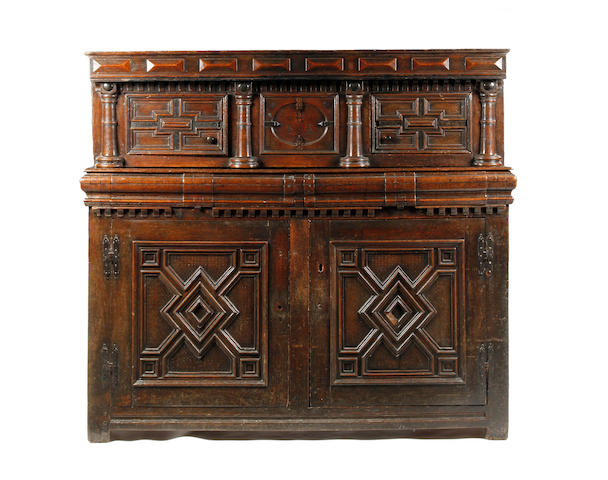 A Charles II oak court cupboard Circa 1660, possibly East Anglia