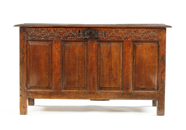 An oak coffer North Lancashire, circa 1700