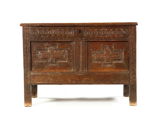 A small Charles I oak coffer Circa 1630