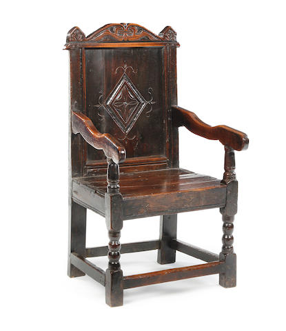 A small Charles II oak panel back open armchair Possibly Yorkshire, circa 1670/80
