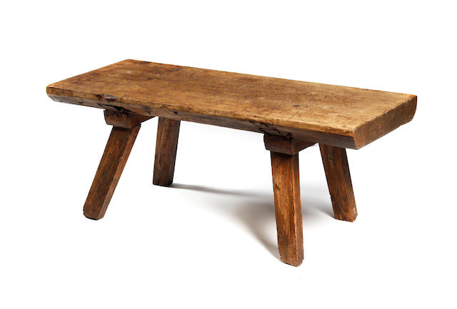 A beech and elm primitive bench