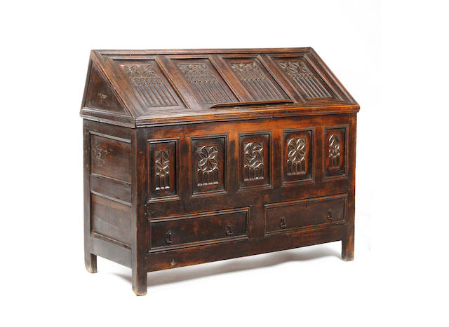 A Gothic-style oak 'reading' chest
