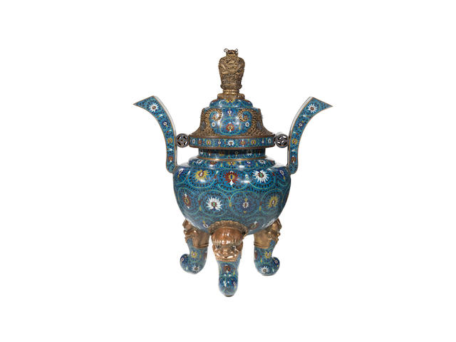 An Imperial monumental incense burner and cover, 19th Century