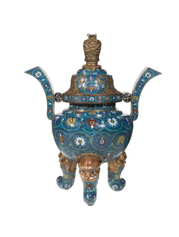 A monumental Imperial incense burner and cover 19th century