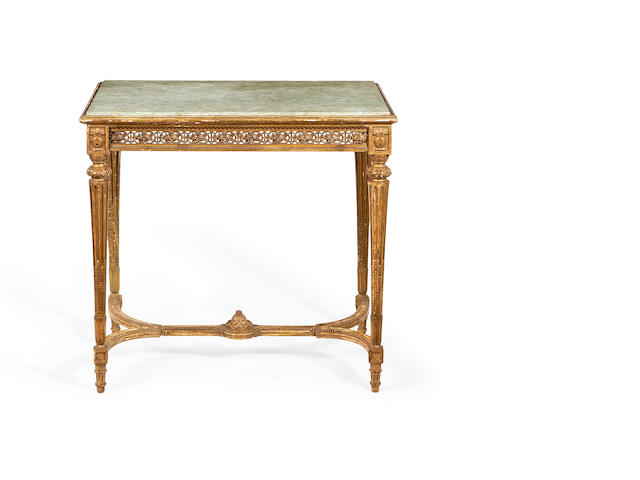 A small French late 19th/early 20th century giltwood centre table in the Louis XVI style