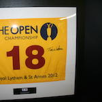 An Open Championship flag signed by Tom Watson