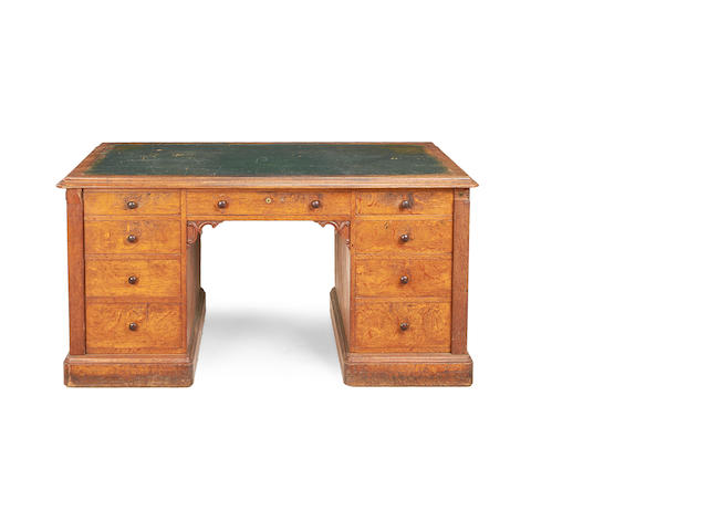 A mid Victorian oak Estate partner's desk
