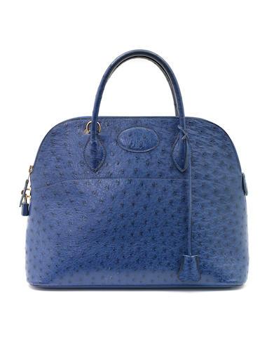 An Hermès blue ostrich Bolide bag
