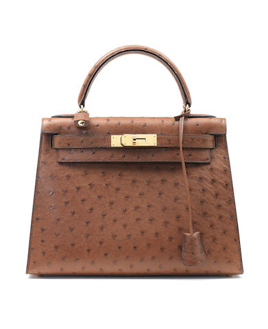 Hermes light brown ostrich kelly and agender