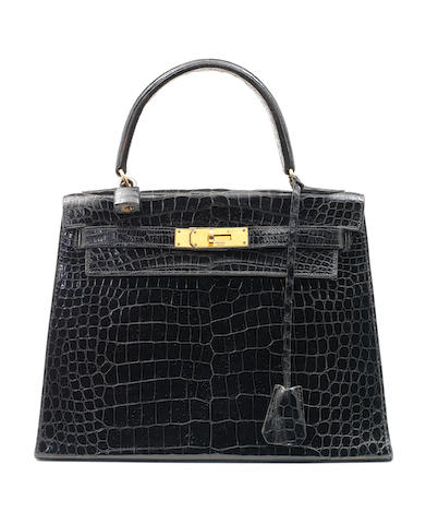 Hermes 28cm black croc kelly
