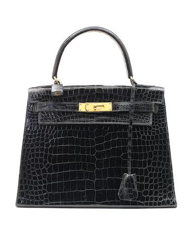 Hermes 28cm black croc kelly