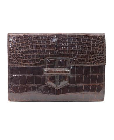 Hermes brown croc pochette