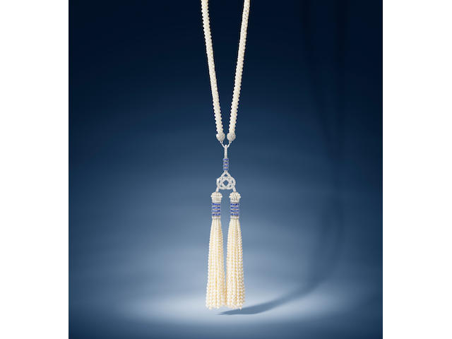A seed pearl, sapphire and diamond sautoir, by Cartier,