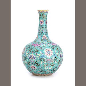A famille rose bottle vase Indistinct seal mark probably Qianlong but later