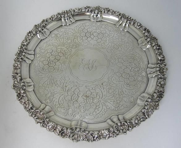 A George IV silver salver by S.C. Younge & Co., Sheffield 1824