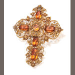A Georgian topaz cross brooch/pendant