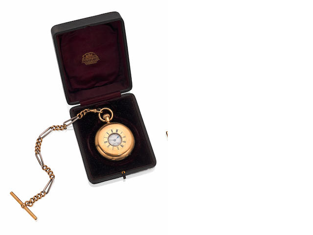 An early 20th century 18ct gold half hunter pocket watch, by Benson of London