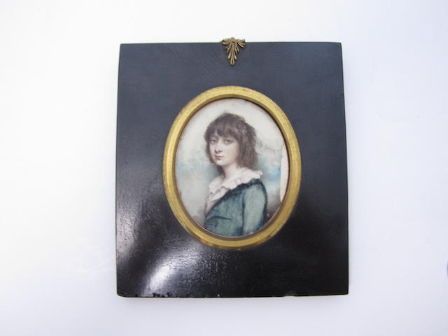 A late 19th century portrait miniature of a young lady on ivory 7.5cm high Together with five decorative miniatures, a daguerrotype and a leather bound frame (8)