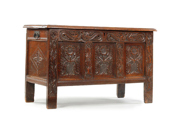 A Charles II oak coffer South Lancashire