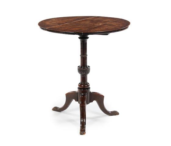 An unusual George III oak tripod occasional table