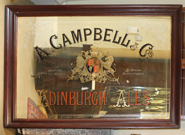 A 19th century pub advertising mirrorA. Campbell & Co., Edinburgh Ales
