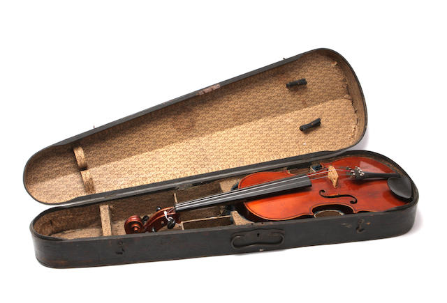 Six violins in fitted cases