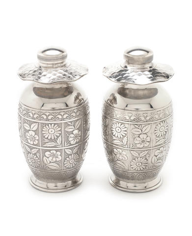 Des. A pair of silver plate Tiffany aesthetic jars 9""