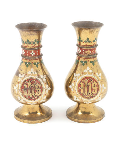 A. W. N. Pugin for John Hardman & Co. A Pair of Altar Vases, circa 1850