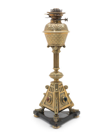 "A magnifacent brass lamp with agate inset balls in red, blue and white with shade, 32"" - Paul Reeves"