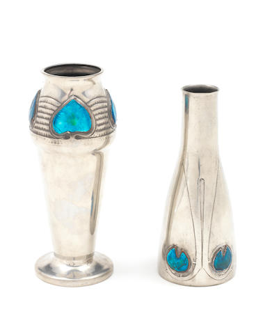 Two Liberty Archibald Knox futuristic rocket vases, silver plate with blue inset 10""