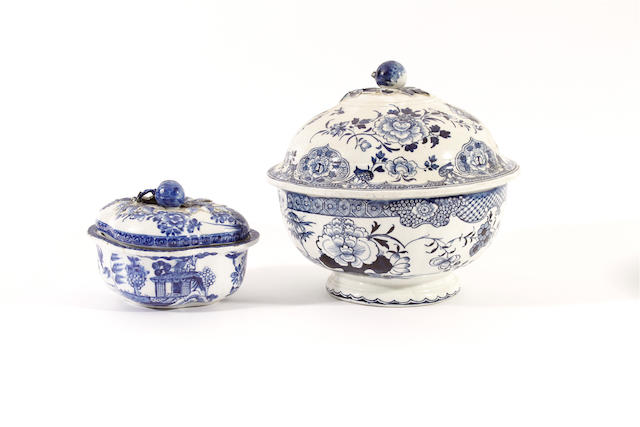 A Derby bowl and cover and a Derby small quatrelobed tureen and cover, circa 1780