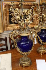 A pair of blue porcelain and gilt-metal mounted vasessecond half 19th century