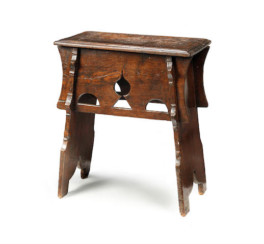 A rare mid-16th century oak boarded stool English, circa 1550