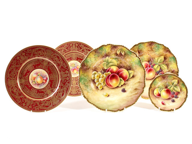 Five Royal Worcester plates, late 20th century