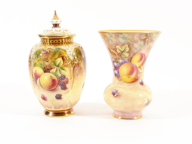 A Royal Worcester vase painted by David Scyner, and another vase and cover painted by Terry Nutt, late 20th century