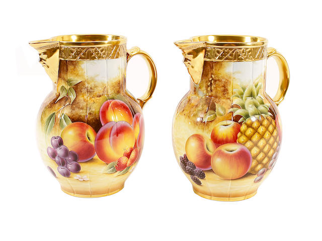 Two Royal Worcester pineapple mask jugs painted by Jason Bowman, late 20th century