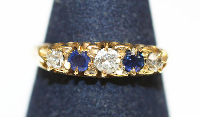 A sapphire and diamond five stone ring,