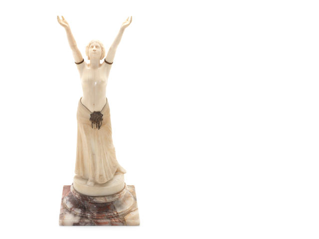 Ch. Muller A Carved Ivory and Alabaster Study of a Priestess, circa 1925