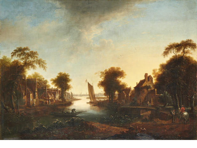 Manner of Aert van der Neer, 18th Century River landscape at sunset