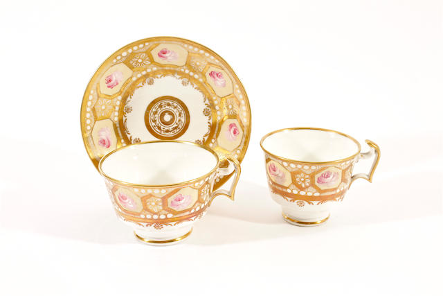 A Swansea teacup, coffee cup and saucer, circa 1815-17