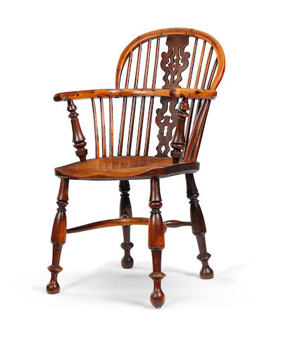A 19th century yew low-back Windsor armchair Nottinghamshire, circa 1840