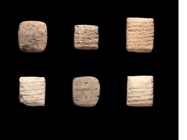 Six Sumerian terracotta cuneiform tablets SPLIT FROM LINE 99