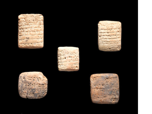 Five Sumerian terracotta cuneiform tablets SPLIT FROM LINE 99  5