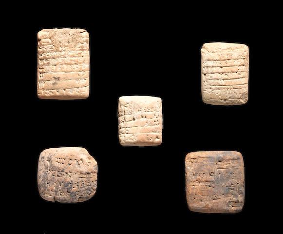 Five Sumerian terracotta cuneiform tablets SPLIT FROM LINE 99  5