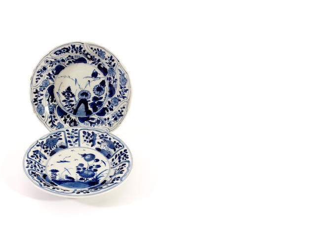 Two Chinese blue and white small dishes
