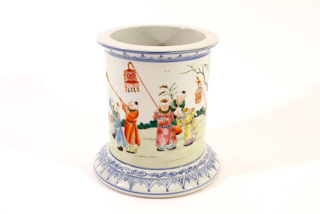 A Chinese famille rose brush pot, Guangxu mark,